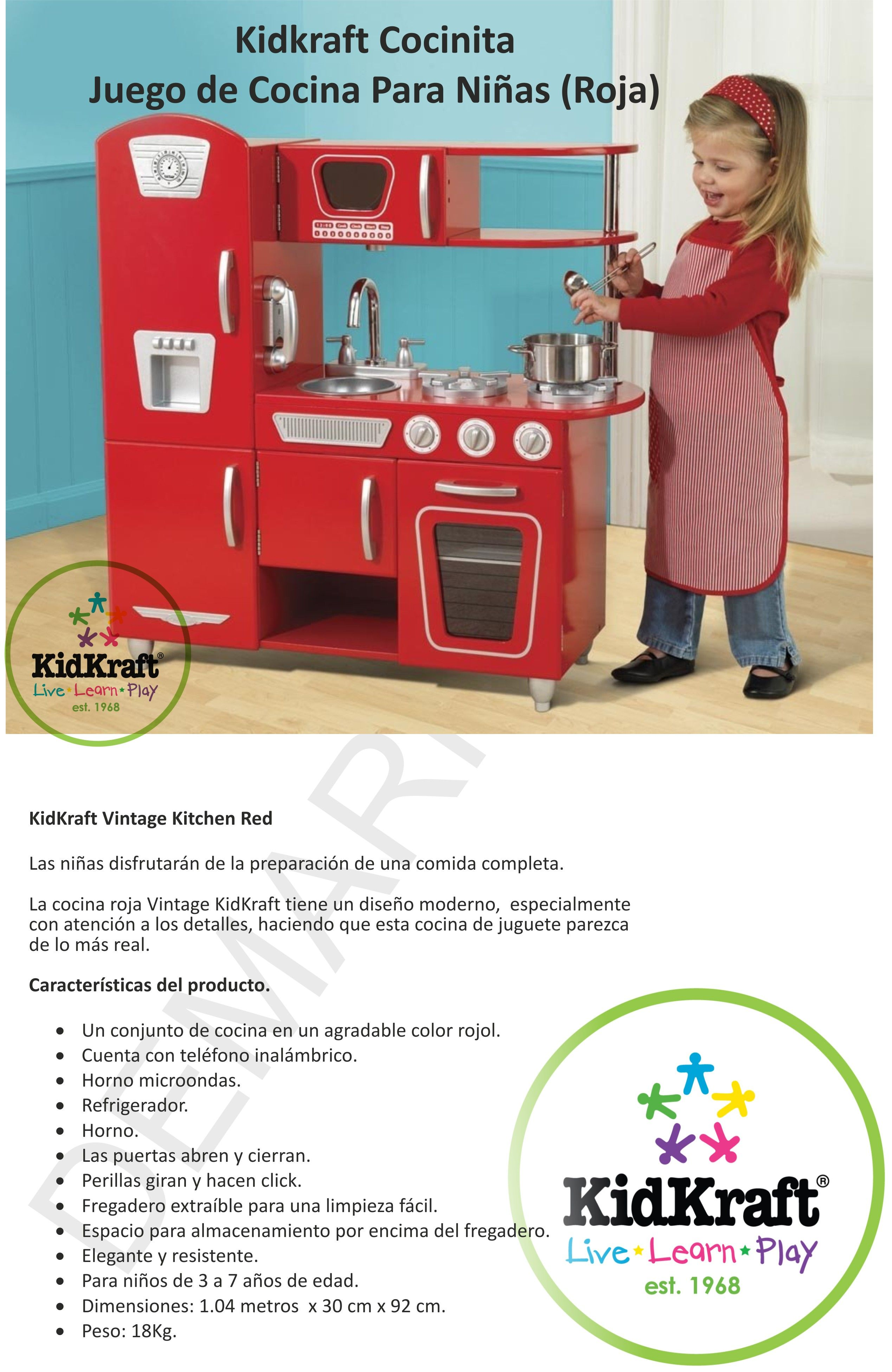 Cocinita kidkraft juguete juego cocina para ni as roja - Juegos de ninas de cocina ...
