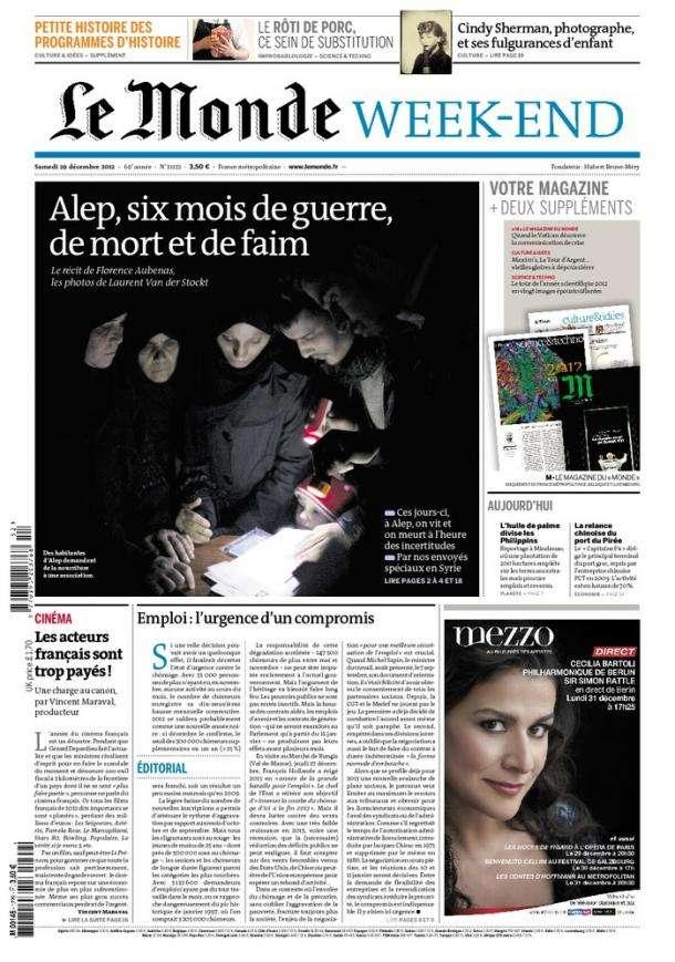 Le Monde et Suppléments du Samedi 29 Décembre 2012